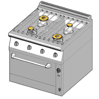 8GHUBG/80 Газовая плита 4 конфорки с духовым шкафом